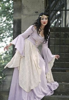 Lady Gwen Fantasy Medieval Velvet and Lace Gown and Cape Custom. $645.00, via Etsy.