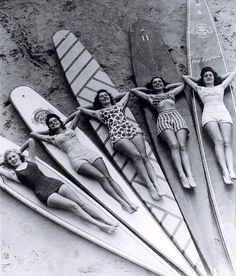 Surf sirens, Manly beach, New South Wales, 1938-46 | Australia | vintage female surfers | summer fun | pose | bikini babes | history | Sydney | surf culture | surfing girls | surfers | wave riders | salt | surfboard | sun | sand | sea | 1930's & 1940's fashion |