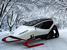 Beasty Beauty In The Snow... The mission with this snowmobile is pure personal pleasure; something that is a perfect marriage of excellent handling, all-terrain-vehicle and a closed cabin for the driver. Sporting an efficient electric drive it will easily take us up the slope (even the ones hardly accessible) or to work by a snowy road forgotten by civilization. Designer: Michal Bonikowski