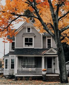Victorian House in Fall ⁠ Fall Porch, Fall Style, Fall Home Decor, Fall Decor, Fall Aesthetic, Autumn Aesthetic