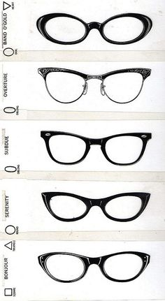 Glasses printed on clear plastic strips, from a 1970s optometrist office - The idea was to hold them up to your face to see how different frames would look on you.