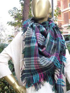 Tartan Plaid Blanket Scarf  cozy scarf oversized by scarfandyou