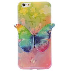 3D Blue-ray IMD Craft Butterfly Flexible TPU Back Case for iPhone 6 Plus 6S Plus 5.5 inch (Flowers& Butterfly)
