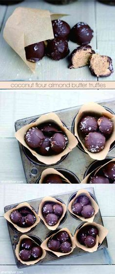 Coconut Flour Almond Butter Truffles - almond, chip, chocolate, coconut, dessert, recipes