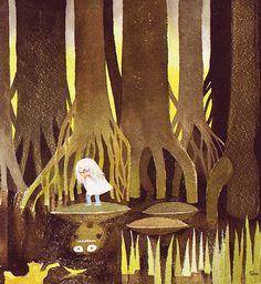The Dangerous Journey Tove Jansson ~ originally published 1977 as Den farliga resan reissued in the UK by Sort of Books, 2010 After seei. Tove Jansson, Children's Book Illustration, Graphic Design Illustration, Moomin Books, Vintage Children's Books, Vintage Kids, Totoro, Art Inspo, Fantasy Art