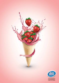 Advertised brand: Daity Ice cream(Zarrin Ghazal Co.) Advert title(s): Cone Ice cream(strawberry) Headline and copy text (in English): Daity Agency website: www.zarringhazal.com Creative Director: Mohsen Koofiani Art Director: Mohsen Koofiani Illustrator: Mohsen Koofiani Photographer: Mohsen Koofiani Published: 5/2014