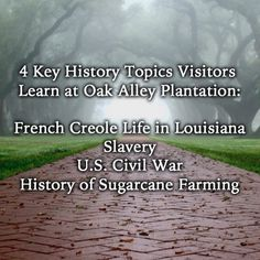 4 Key History Topics Visitors Learn at Oak Alley Plantation:  French Creole life in Louisiana Slavery U.S. Civil War History of Sugarcane Farming #OakAlley