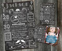 First Birthday Boy  Invitation Custom by PickleNoodleBoutique, $44.00