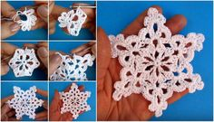 Crochet snowflakes White with gold edge by SevisMagicalStitches – Snowflakes World Crochet Snowflake Pattern, Christmas Crochet Patterns, Crochet Ornaments, Holiday Crochet, Crochet Snowflakes, Crochet Flower Patterns, Christmas Knitting, Crochet Gifts, Crochet Motif