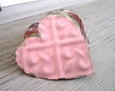 3 Tin Hearts Vintage Shabby Chic wedding decor by TheLonelyHeart