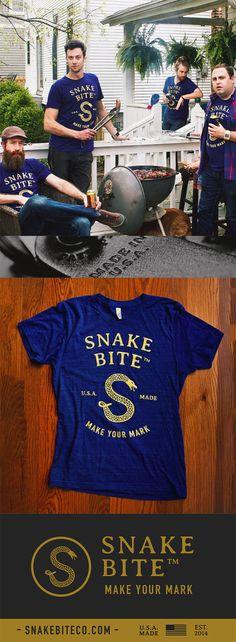 Snake Bite Brand Tee Shirt - American Apparel - 100% Made in the USA   Snake Bite Co.
