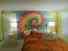 Tie Dye inspired fresco rainbow wall mural by SignificantArt, $2000.00-Awesome...too bad it was painted on a wall with a door!