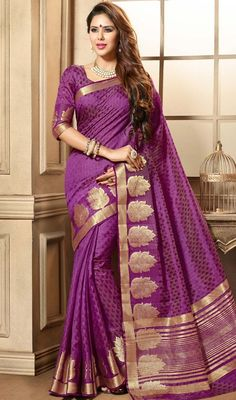 Let your beauty take a new turn draped in this purple color embroidered tussar silk sari. The brocade patch work appears to be chic and perfect for any affair. #gorgeoussarees #prettydesignsaris #traditionalsareecollection