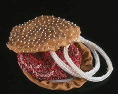 Julie Allen - french knots for sesame seeds, embroidered burger and organza onion ring.