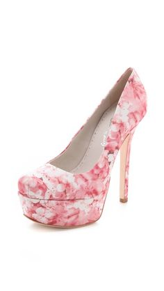 Larimore Platform Pumps in a sweet cherry blossom print USD 295 by alice + olivia