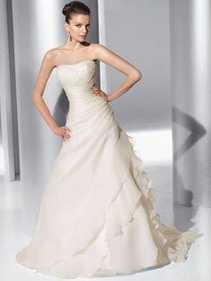 Demetrios Illusions 3170 Floral One Shoulder Satin & Organza Ruffled A-line Wedding Dress | Nearly Newlywed
