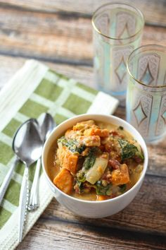 Ethiopian Lentils with sweet potatoes, Spinach, coconut milk