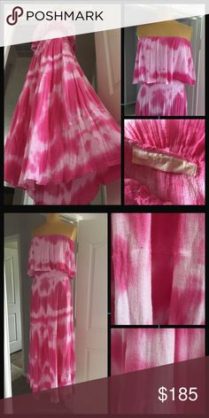 Jen's Pirate Booty  strapless maxi dress Beautiful pink and white tie dye maxi dress from Jen's Pirate Booty. Lovely long length and incredibly flattering fitted bodice. New and never worn but this item was a custom dye order so it has been hand dyed. Please refer to detail pics in second frame to be able to understand fabric texture post dye Jen's Pirate Booty Dresses Maxi