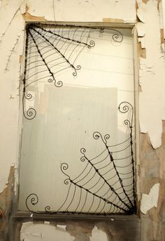 """Two Twistedly Wicked 18"""" Corner Spider Webs from Barbed Wire Made to Order"""