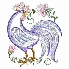 Rippled Rooster and Hen Set, 10 Designs - 3 Sizes! | What's New | Machine Embroidery Designs | SWAKembroidery.com
