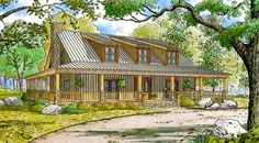 Rustic Country Home with Wrap-around Porch - 70552MK - 01