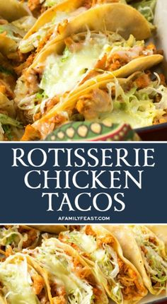 These Easy Rotisserie Chicken Tacos are a quick and delicious weeknight meal, and a great way to feed a crowd at your next game day party.