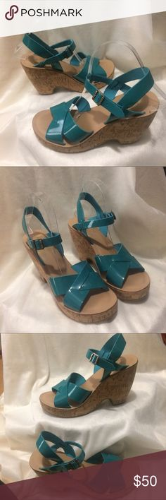 NWT Kork-Ease Turquoise Sandals Brand new with tag still attached. Turquoise patent leather upper. kork-ease Shoes Platforms