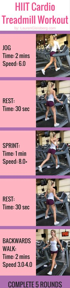 HIIT CARDIO TREADMILL WORKOUT | click for full workout plan at home or in the gym  www.LaurenGleisberg.com