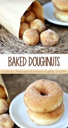 Imagine the fluffiest, chewiest morsel of homemade doughnut goodness you have ever had, and you have these baked doughnuts. Homemade Baked Doughnuts - These, baked not fried doughnuts are irresistibly good. Yummy Recipes, Baked Donut Recipes, Baked Doughnuts, Sweet Recipes, Cake Donut Recipe Baked, Simple Donut Recipe, Baked Doughnut Holes, Doughnut Muffins, Recipes Dinner
