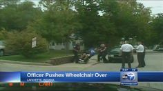 Classy, manly.  --  Indiana cop caught on video tipping man out of wheelchair