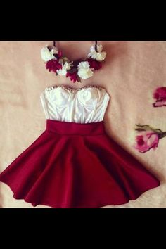 White top and red skater skirt Cute Fashion, Look Fashion, Teen Fashion, Fashion Outfits, Dress Fashion, Spring Fashion, Womens Fashion, The Dress, Dress Skirt