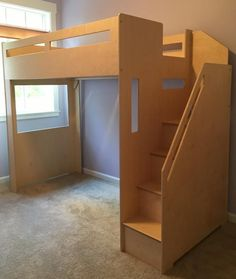 Loft bed with its own staircase on the right hand side. Custom Range height to s… Room Design Bedroom, Home Room Design, Loft Beds For Small Rooms, Loft Beds For Teens, Bunker Bed, Loft Furniture, Furniture Outlet, Furniture Ideas, Furniture Design