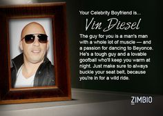 I took Zimbio's celebrity boyfriend quiz and my true love is Vin Diesel! Who's yours?