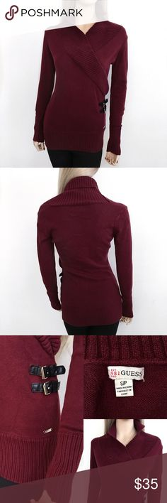 Guess Crossed Maroon Fall Sweater 🍂💋 Guess Crossed Maroon Fall Sweater 🍂❤️ Size: S Condition: Excellent Condition Very cute Maroon guess sweater. Features a Crossed design with two side hinges for style. This sweater is in mint condition there are no holes, stains or tears.  In Bin: D **All items from my closet come from a SMOKE FREE home**🙅🏽😊 Guess Sweaters