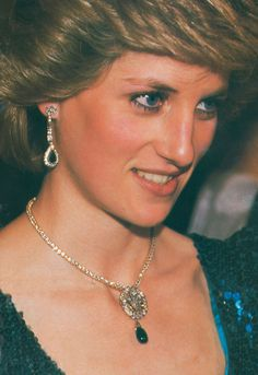 DIAMOND AND EMERALD DROP EARRINGS  Surprisingly, in all my searches and looking through by Diana book collection, it seems Diana, Princess of Wales only had one GENUINE pair of emerald earrings.  These diamond and emerald earrings were a 22nd birthday (1983) present from Prince Charles. This is a wonderful close-up of the diamond and emerald earrings.