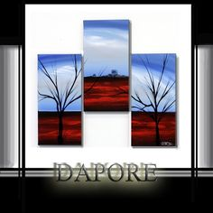 Modern tree art painting three canvas set by TheoDapore on Etsy, $199.00