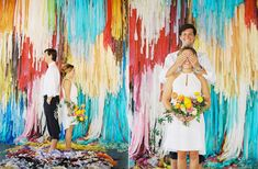 unique ceremony backdrops - photo by Ben Q - http://ruffledblog.com/color-pop-wedding-ideas/