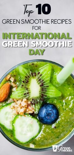 Today is Officially International Green Smoothie Day, so what could be better than sharing my top 10 best green smoothie recipes with you. Best Green Smoothie, Green Smoothie Recipes, Weight Loss Smoothies, Alternative Health, Ethnic Recipes, Food, Meals, Yemek, Eten