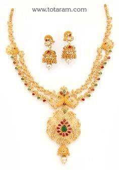 22K Gold 'Peacock' Necklace & Ear Hangings Set with Uncut Diamonds , Ruby , Emerald & South Sea Pear