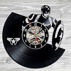 Captain America Vinyl Wall Clock Art Gift Room Modern Home Record Vintage Decoration >>> Continue to the product at the image link.