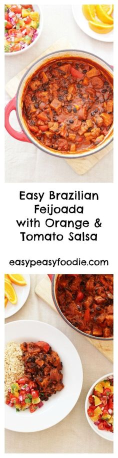 This Easy Brazilian Feijoada is packed with wonderful Brazilian flavours, but takes much less time and effort than the classic version, and is served with a simple and refreshing Orange and Tomato Salsa – a nod to the more traditional accompaniment of orange slices. #feijoada #chorizo #bellypork #pork #porkstew #blackbeans #salsa #makeahead #onepot #onepotdinner #glutenfree #dairyfree #easyentertaining #easymidweekmeals #midweekmeals #easydinners #dinnertonight #dinnertonite #easypeasyfoodie Tasty Dishes, Savoury Dishes, Side Dishes, Plum Tomatoes, Orange Slices, Pork Belly, Easy Peasy, Chana Masala, Stew