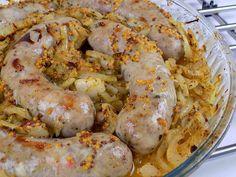 Biała kiełbasa pieczona z cebulą   Kuchnia na Wypasie Shrimp, Meat, Recipes, Impreza, Food, Magic, Essen, Meals, Eten
