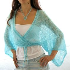 AQUA ...SEA BREEZE...Elegant Hand Knitted  Vest, Bolero, Shrug. $56.00, via Etsy.
