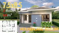 Small House Design Plans with 2 Bedrooms Full Plans - House Plans Small Rustic House, Rustic House Plans, Simple House Plans, House Layout Plans, Garage House Plans, Simple House Design, House Front Design, Modern House Plans, House Layouts
