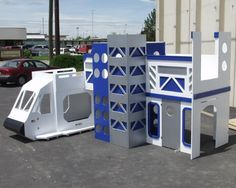 """Side View of Space Shuttle Bunk Bed with Launch Tower is $7495185"""" w x 113"""" d x 93"""" hCALL FOR A SHIPPING QUOTE!!!"""