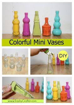 Vintage Colorful Mini Vases for#colorfulcraft #diy #dormroom www.trashycrafter.com