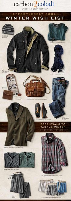 Essentials to tackle winter and look effortlessly cool. Start with this Winter Wish List from Carbon2Cobalt.