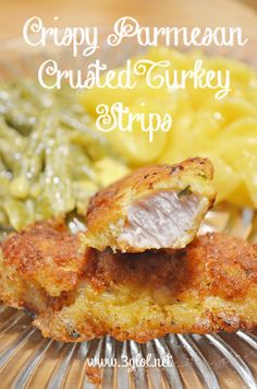 Crispy Parmesan Crusted Turkey Strips. Turkey strips covered with a crispy coat made with eggs, panko and parmesan cheese. #turkey #crispyturkeystrips #itswhatsfordinner www.3glol.net