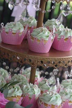 Princess and the frog birthday party cupcakes! See more party planning ideas at CatchMyParty.com!