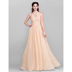 A-line Jewel Floor-length Chiffon Bridesmaid Dress (2174384) – USD $ 99.99